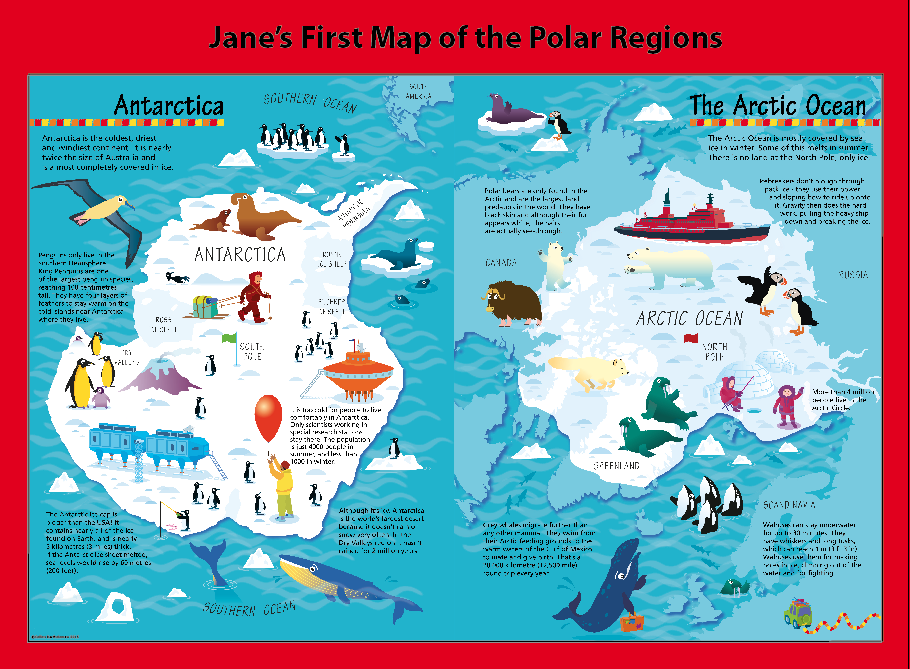 Personalised Children's Picture Map of the Polar Regions