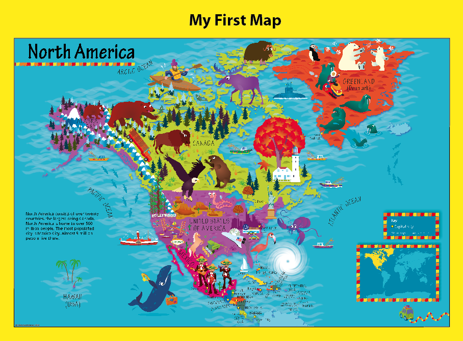 Personalised Children's Picture North America Map