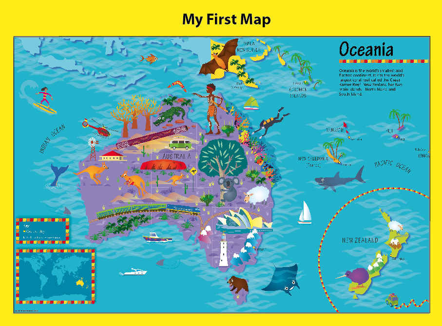 Personalised Children's Picture Oceania Map