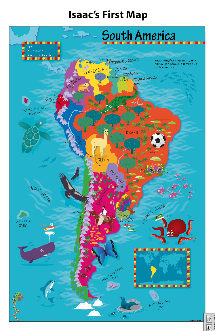 Personalised Children's Picture South America Map