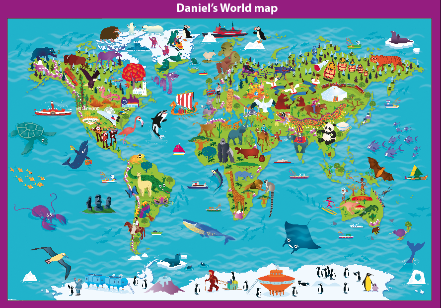 Personalised Children's Picture World Map - Large