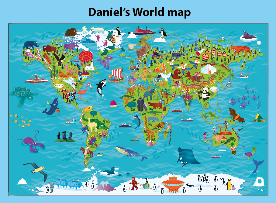 Personalised Children's Picture World Map