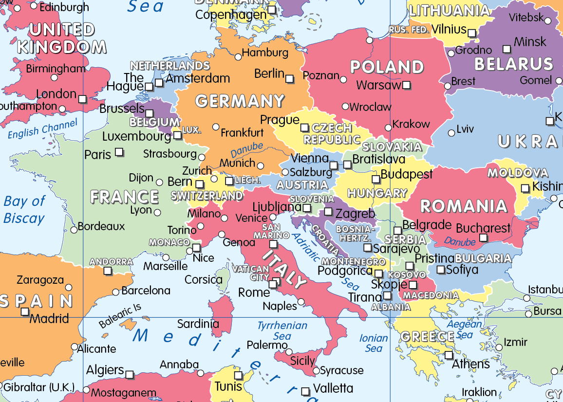 Personalised colour blind friendly World Political Map (large)