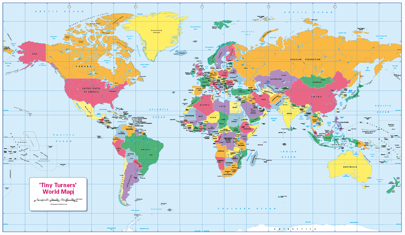 Personalised World Countries and Capitals map