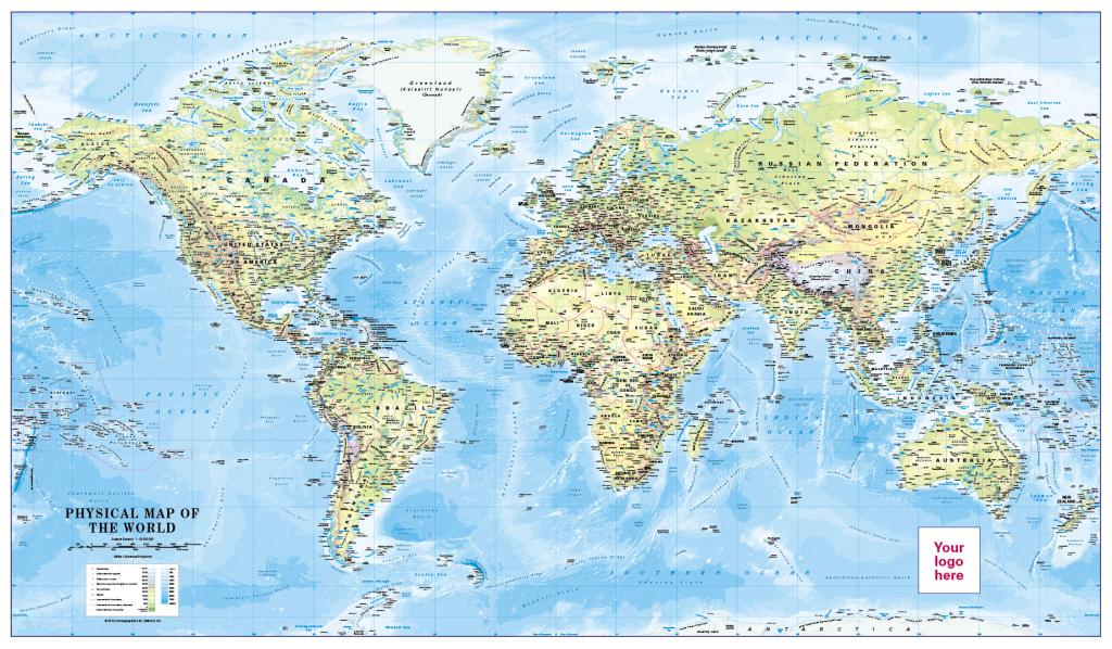 Personalised World Physical Map Scale 1:30 million (large)