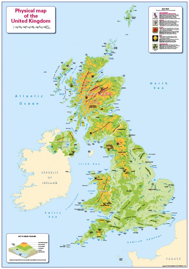 Physical Map of the United Kingdom - small