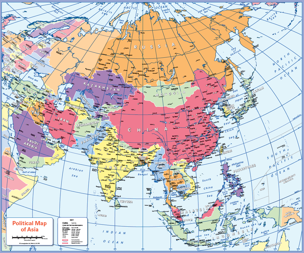 Political map of Asia - small wall map
