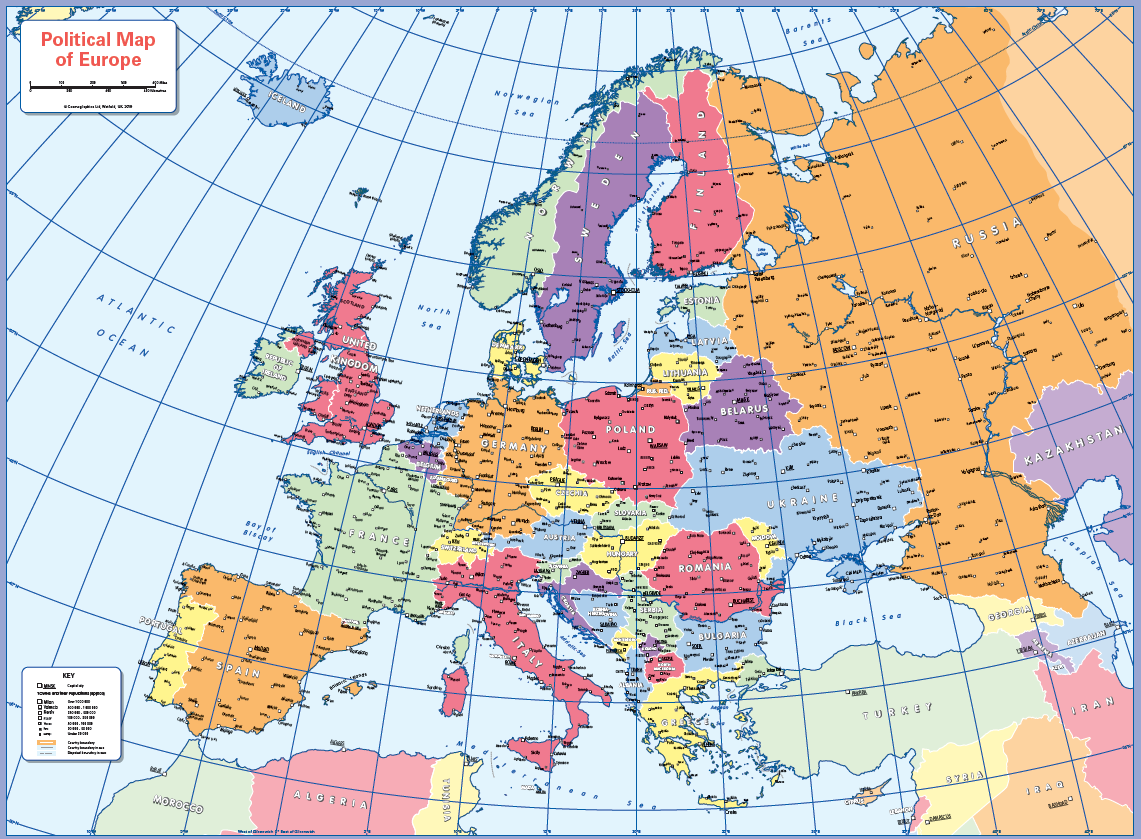 Political map of Europe - small wall map