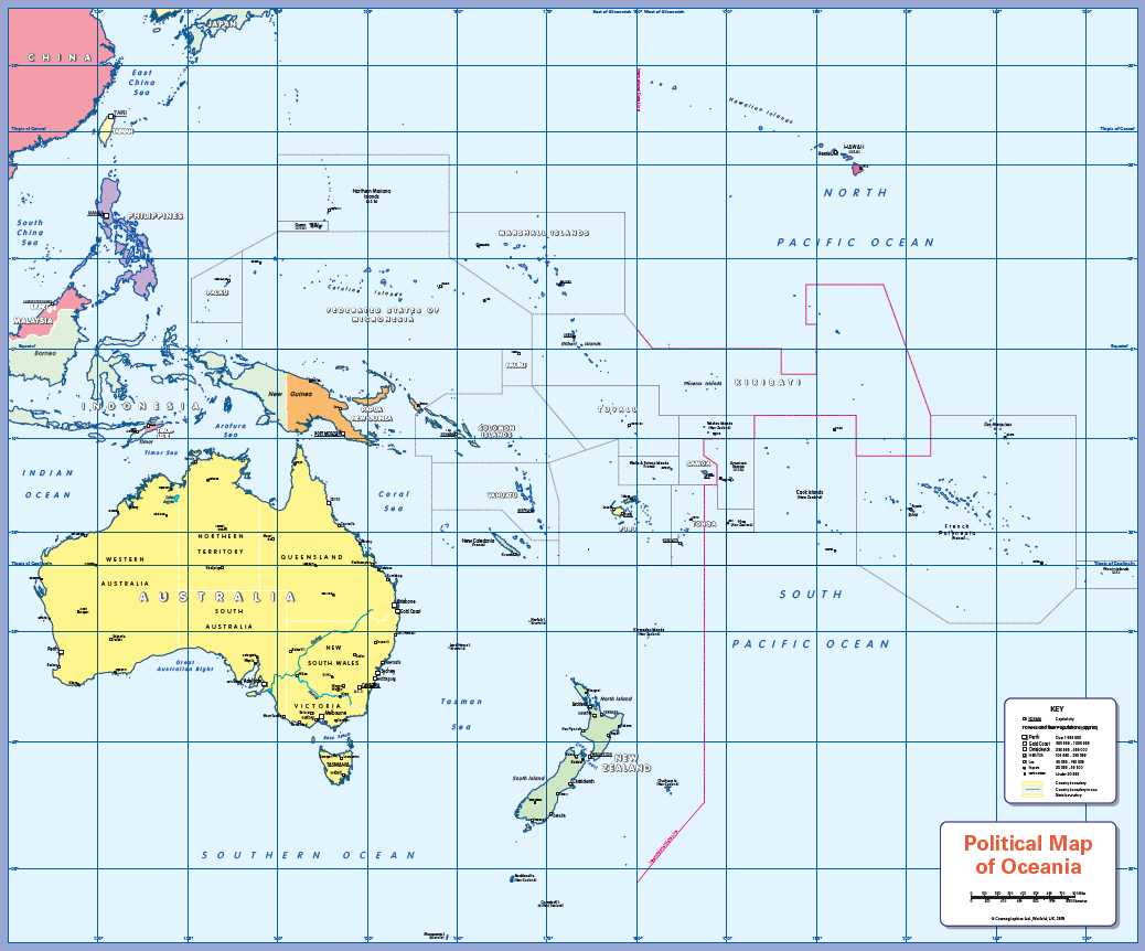Political map of Oceania - small wall map