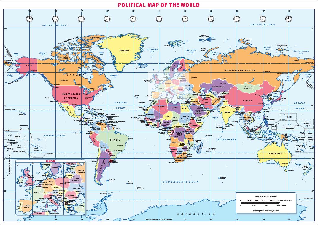 Political World map (A3)