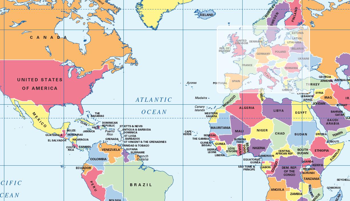 Political World map (A4)