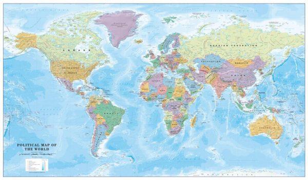Canvas Political World Map - Huge (UK free delivery)