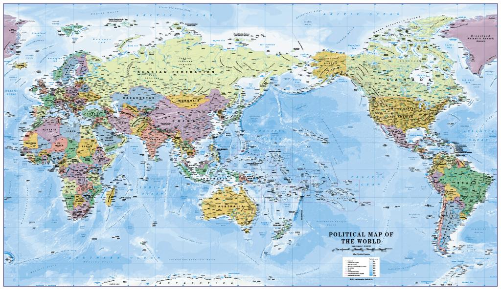 Pacific centred political World Map 1:30 million