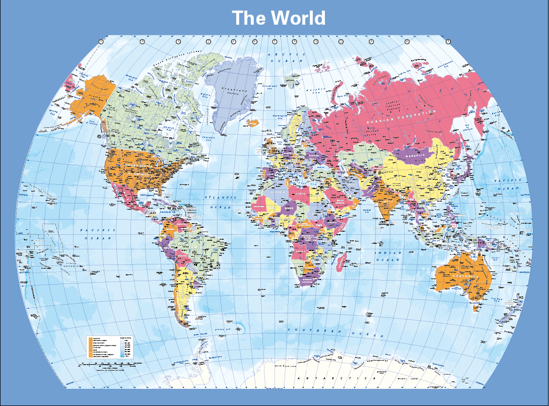 Political World Map (curved projection) - colour blind friendly