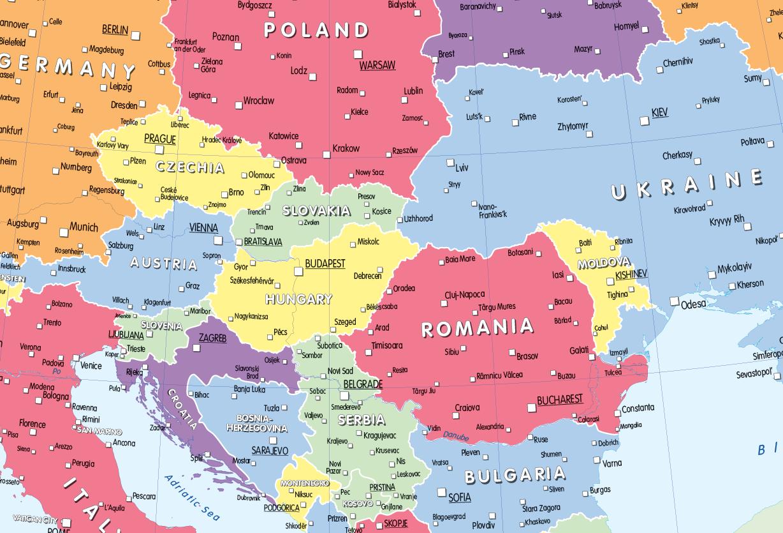 Set of 3 maps - Children's World, Europe and UK