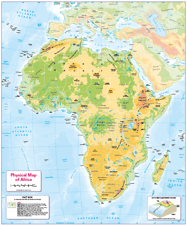 Set of 6 Children's physical continental maps