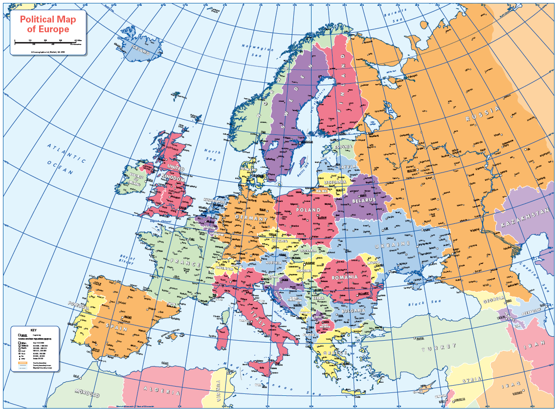 Set of 6 Children's political continental maps