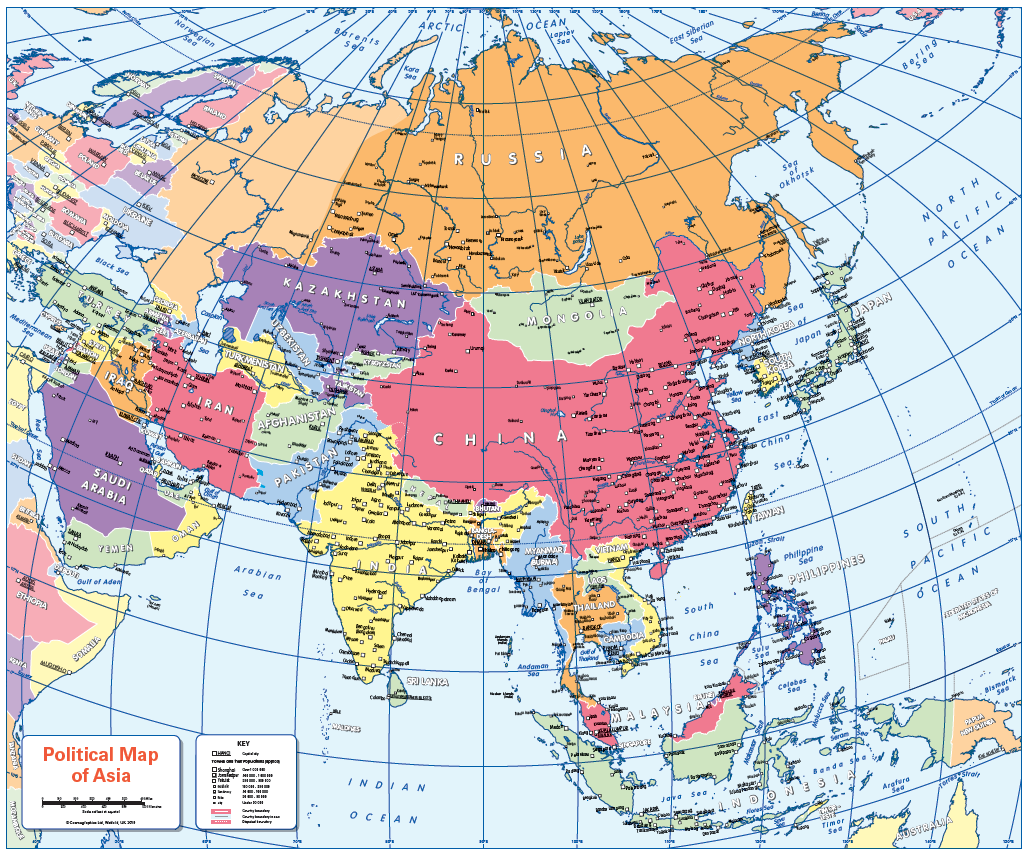 Set of 6 Children's political continental maps - small