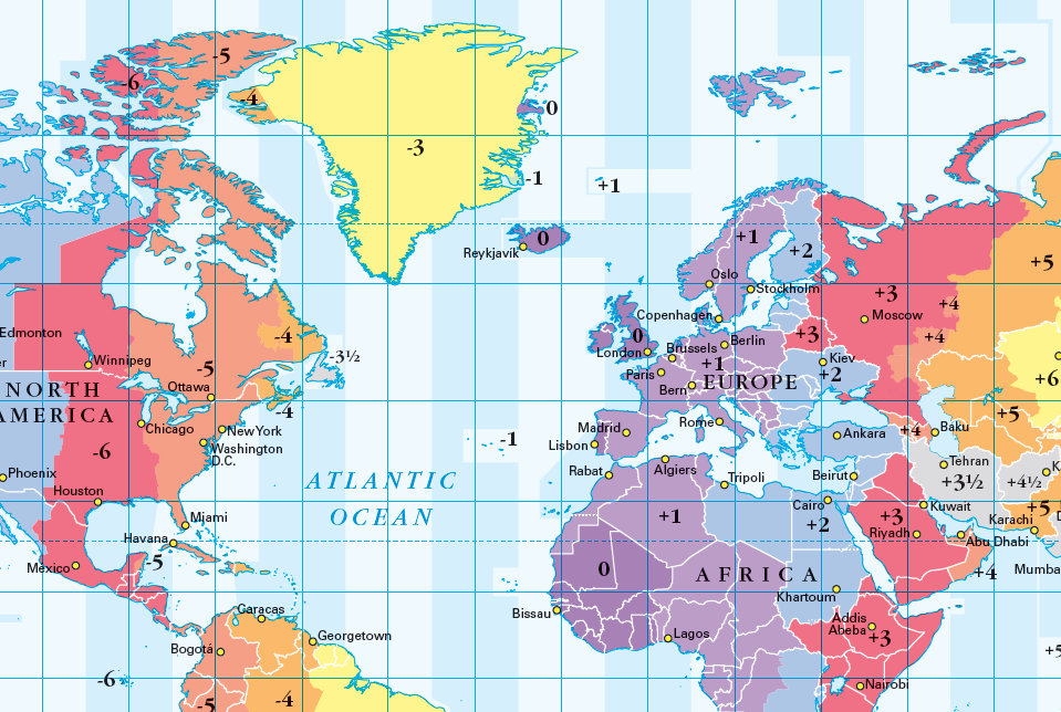 Simplified World Time Zones map