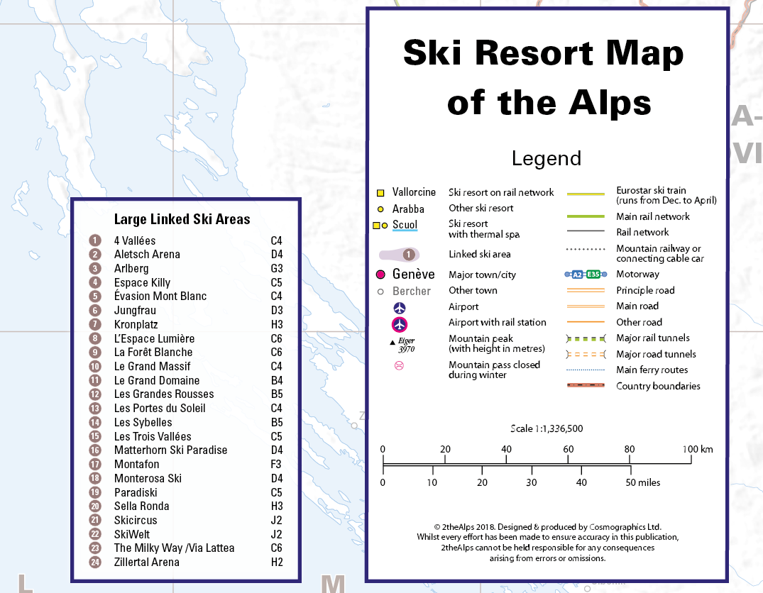 Ski Resort map of the Alps- Framed canvas (UK free delivery)