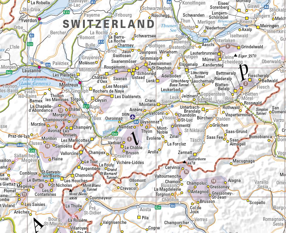 Ski Resort map of the Alps