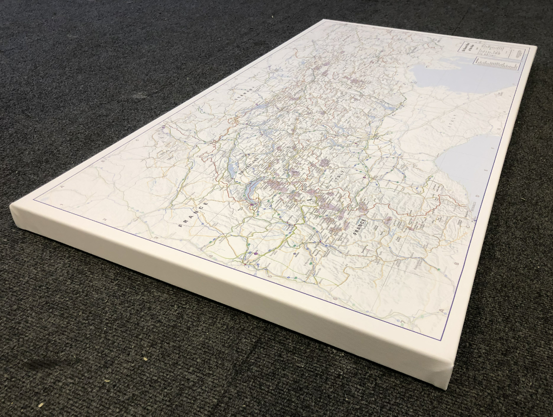 Ski Resort map of the Alps- Framed canvas (UK only)