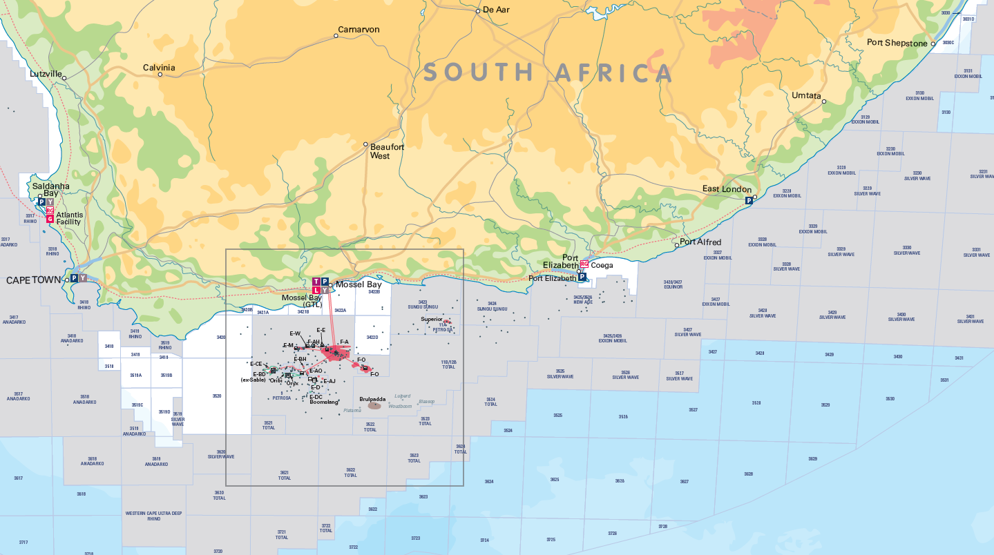 South & East Africa Oil and Gas Activity Map - Personalised