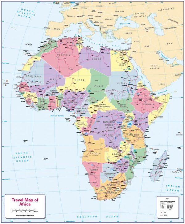 Children's Travel map of Africa