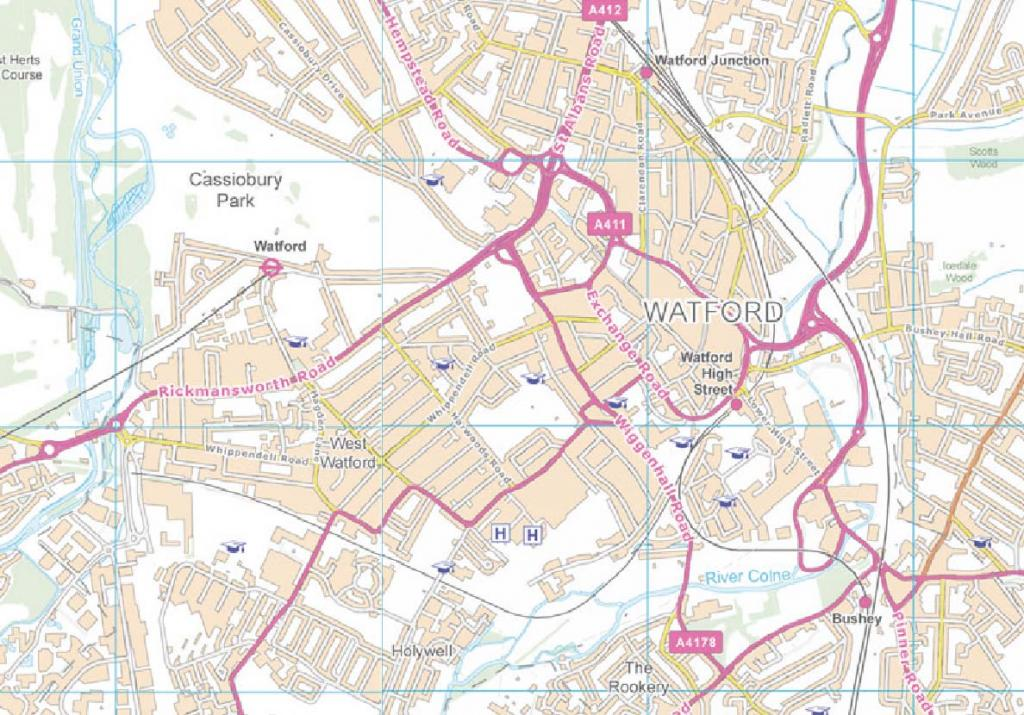 Watford and surrounds map
