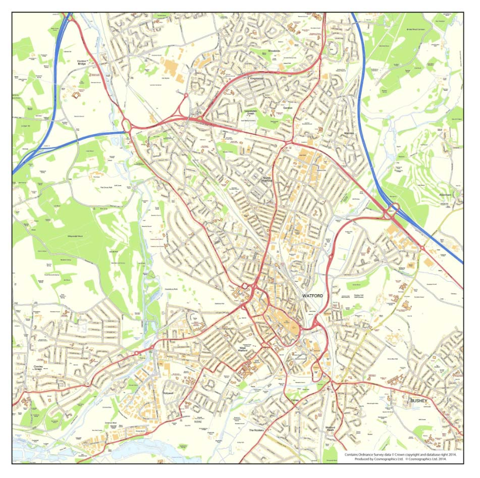 Ordnance Survey UK city and  town maps