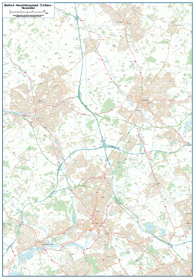 Watford-Hemel Hempstead-St Albans-Harpenden map