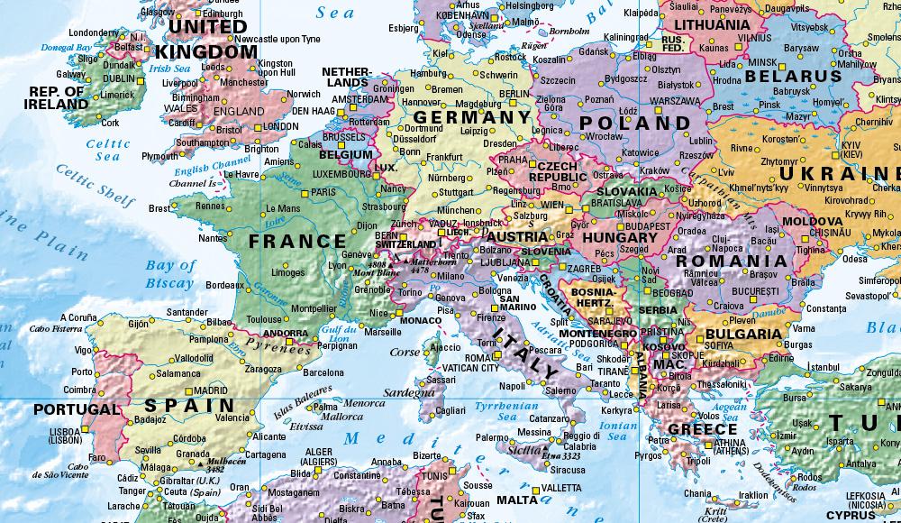 World Political Map Scale 1:40 million