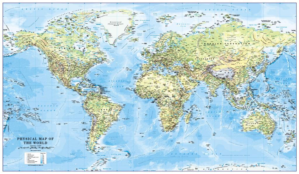 World Physical Map Scale 1:40 million