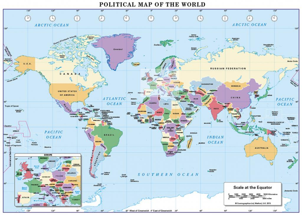 World Political map A3 and A4 size