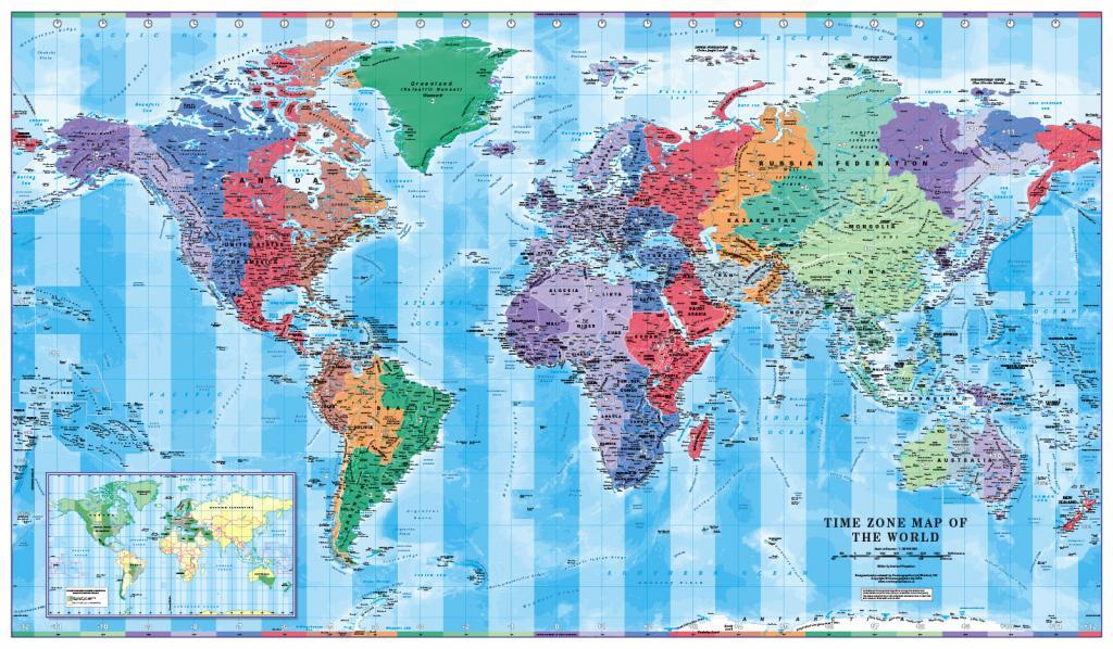 World Timezones Map Scale 1:30 million