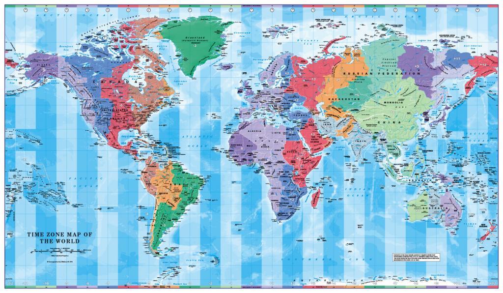 World Timezones Map Scale 1:40 million